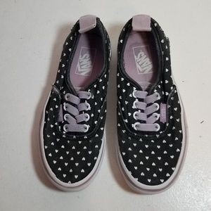 Van's black with white heart girl shoes size 13